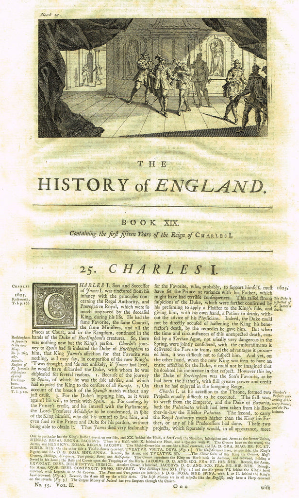 "Rapin's History of England ""THE REIGN OF CHARLES I - Ist 15 Years"" - Copper Engraving - 1743"