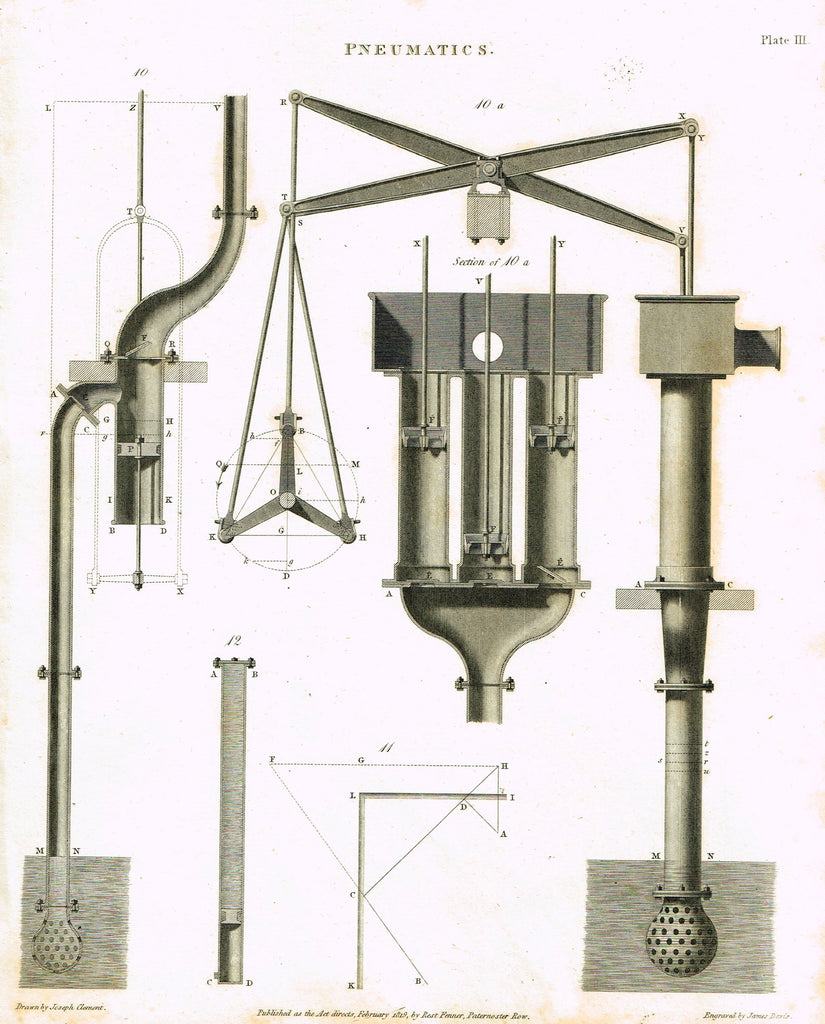 "Rees's Cyclopaedia Pneumatics - ""WATER PUMP - Plate III"" - Steel Engraving - 1819"