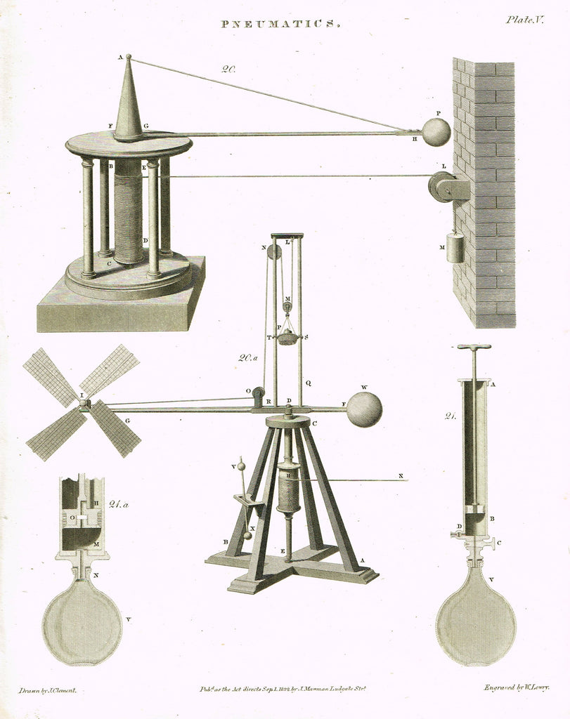 "Rees's Cyclopaedia Pneumatics - ""WINDMILL - Plate V"" - Steel Engraving - 1819"