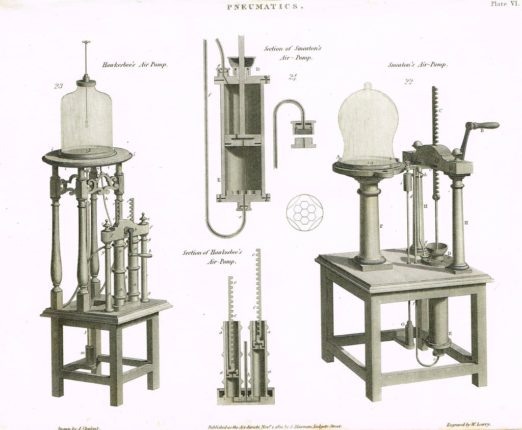 "Rees's Cyclopaedia Pneumatics - ""SMEATON'S AIR PUMP - Plate VI"" - Steel Engraving - 1819"