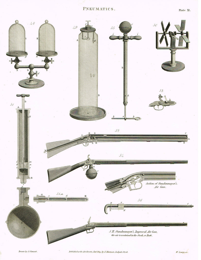 "Rees's Cyclopaedia Pneumatics - ""STAUDENMAYER'S AIR GUN - Plate XI"" - Steel Engraving - 1819"