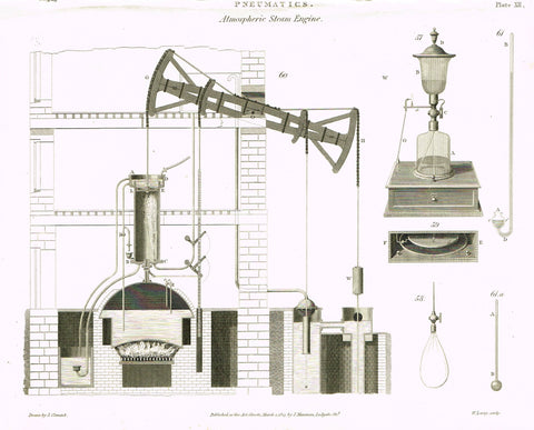 "Rees's Cyclopaedia Pneumatics - ""ATMOSPHERIC STEAM ENGINE - Plate XII"" - Steel Engraving - 1819"
