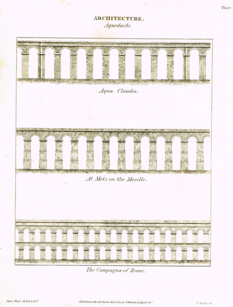 Rees's Cyclopaedia - ELEVATION OF COLOSIUM & PANTHEON - Engraving - 1819