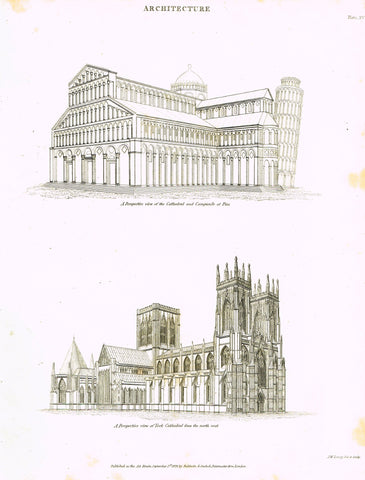 Rees's Cyclopaedia - PERSPECTIVE OF CATHEDRAL AT PISA - Engraving - 1819