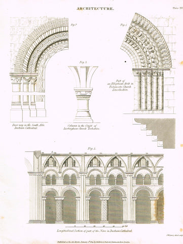 "Rees's Cyclopaedia Architecture - ""DURBAM CATHEDRALE - Plate XVII"" - Steel Engraving - 1819"