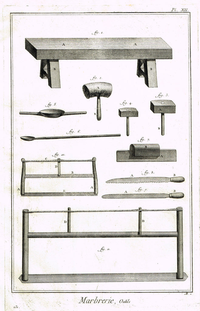"Diderot's Encyclopdie - ""MARBRERIE - MARBLE CUTTING TOOLS - Plate XII"" 1751"
