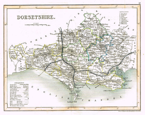 "Antique Map - ""DORSETSHIRE"" by J. Archer - Hand-Colored Lithograph - c1842"