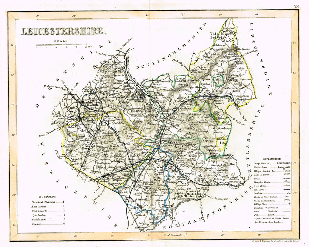 "Antique Map - ""LEICESTERSHIRE"" by J. Archer - Hand-Colored Lithograph - c1842"