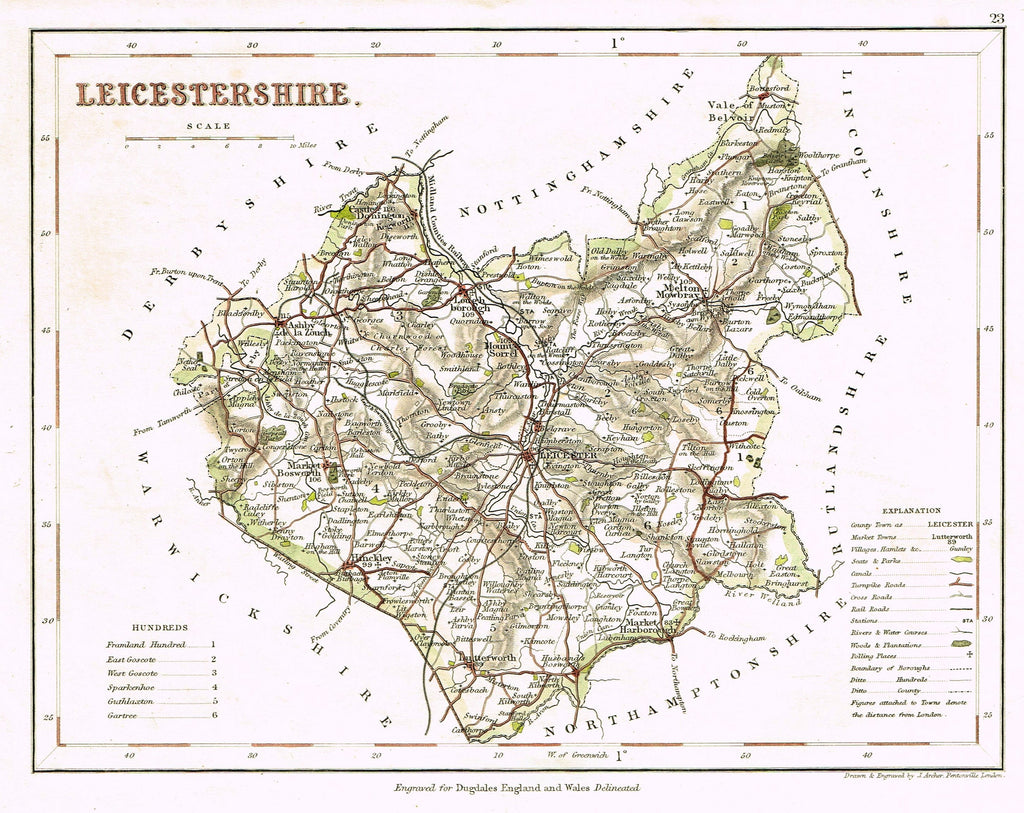 "Antique Map - ""LEICESTERSHIRE"" by J. Archer - Hand Colored Lithograph - c1842"