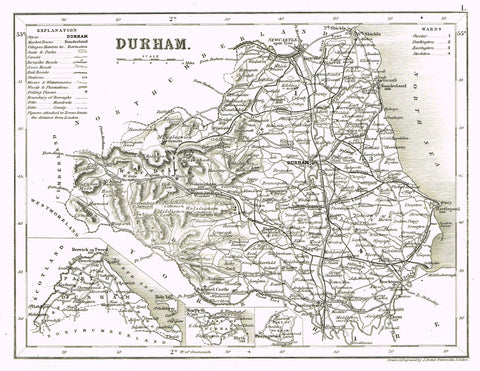 "antique Map - ""DURHAM"" by J. Archer - Lithograph - c1842"