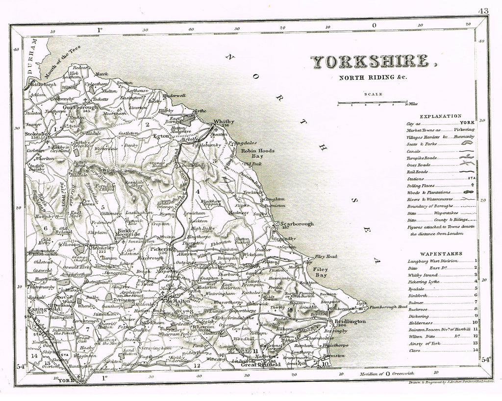 "Antique Map - ""YORKSHIRE"" by J. Archer - Lithograph - c1842"
