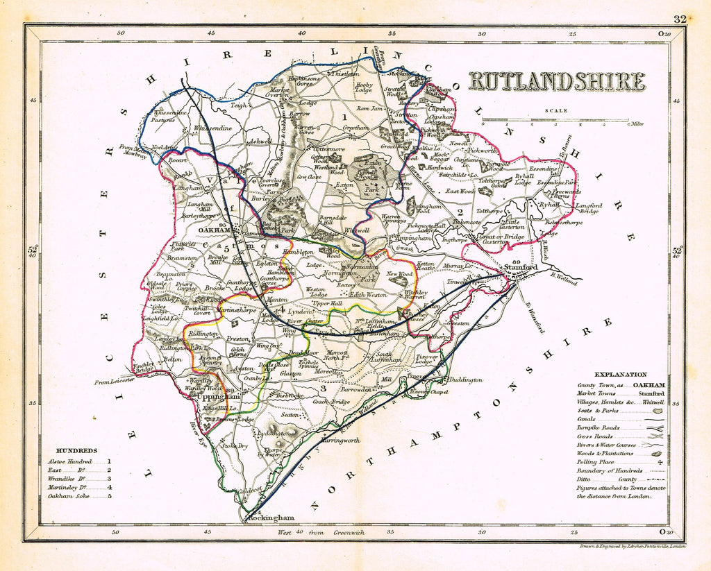 "Antique Map - ""RUTLANDSHIRE"" by J. Archer - Hand Colored Lithograph - c1842"