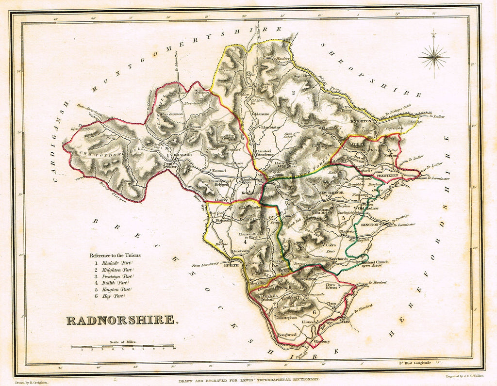 "Antique Map - ""RADNORSHIRE"" by J. & C. Walker - Hand-Colored Engraving - 1837"