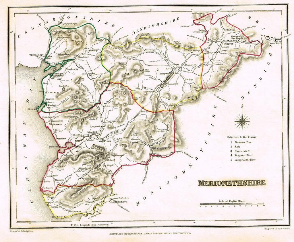 "Antique Map - ""MERIONETHSHIRE"" by J. & C. Walker - Hand-Colored Engraving - 1837"