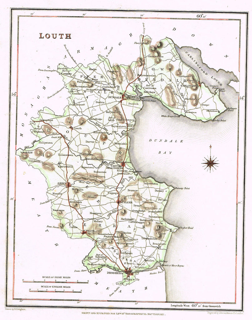 "Antique Map - ""LOUTH"" by I. Dover - Hand-Colored Engraving - 1837"
