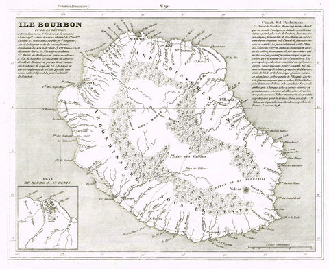 "Antique Map - ""ILE BOURBON OU DE LA REUNION"" by Monin - Copper Engraving - 1833"
