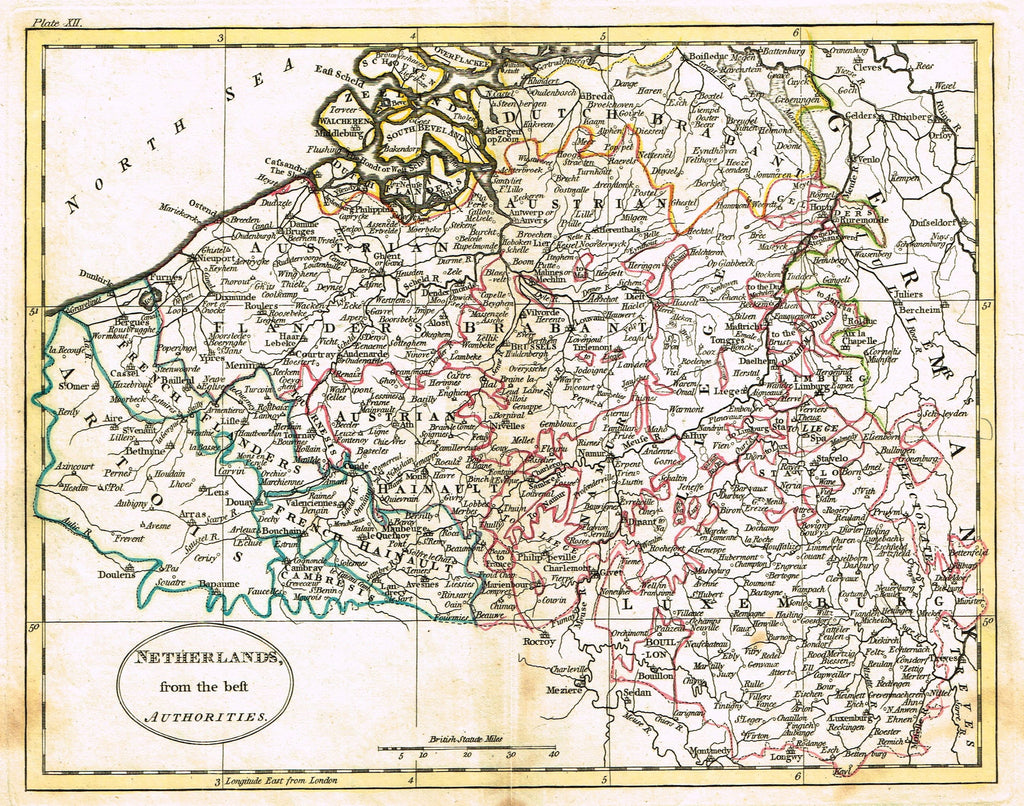 "Antique Map - ""NETHERLANDS FROM THE BEST AUTHORITIES"" by Carey - Hand-Colored Engraving - 1795"