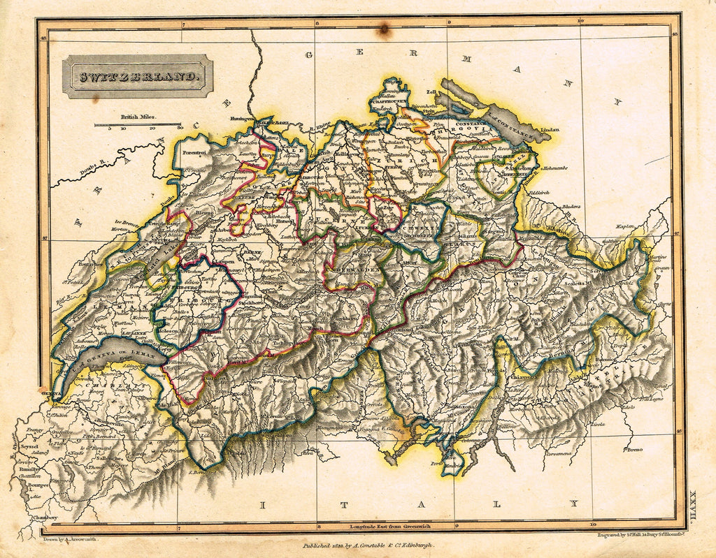 "Antique Map - ""SWITZERLAND"" by S. Hall - Hand-Colored Engraving - 1823"