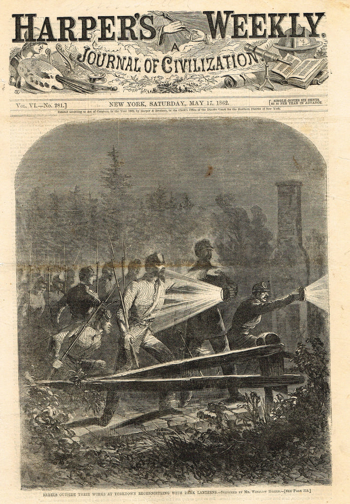 "Harper's Weekly - ""REBELS OUTSIDE WORKS AT YORKTOWN"" - Front Page - May 17,1862"