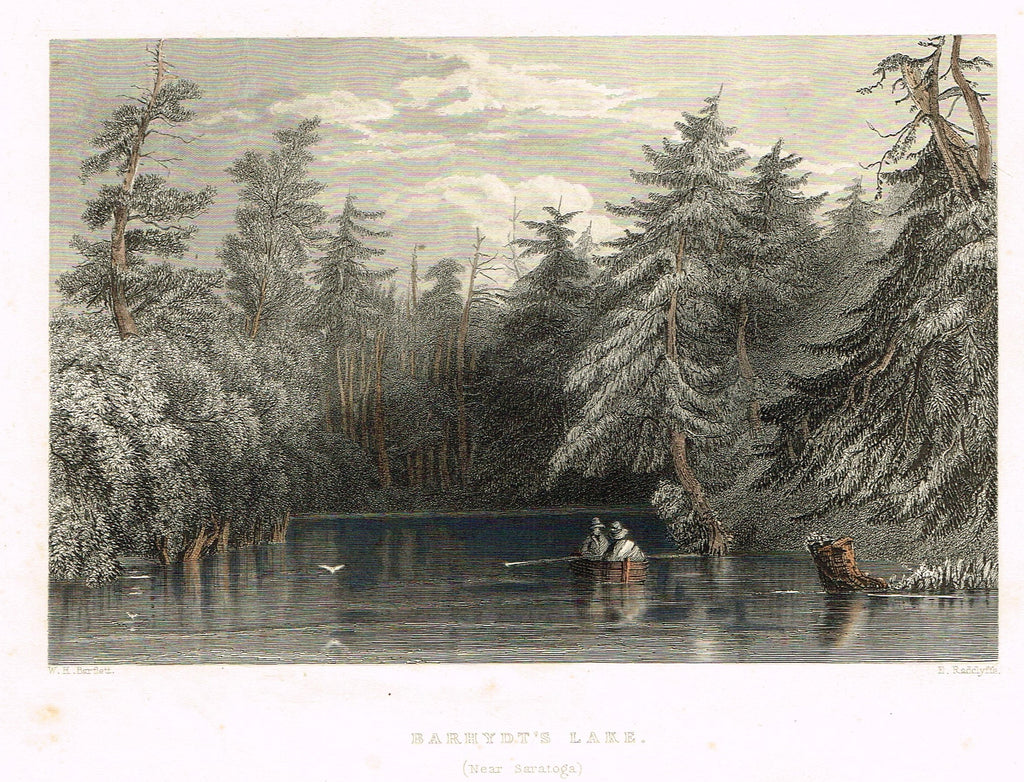 "Bartlett's ""BARHYDT'S LAKE (NEAR SARATOGA)"" - Hand-colored Steel Engraving - c1840"