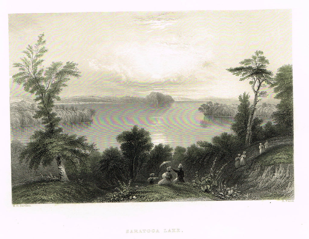 "Bartlett's ""SARATOGA LAKE"" - Hand-colored Steel Engraving - c1840"