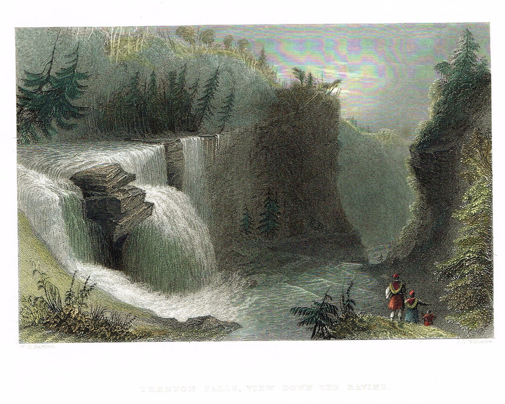 "Bartlett's ""TRENTON FALLS, VIEW DOWN THE RAVINE"" - Hand-colored Steel Engraving - c1840"