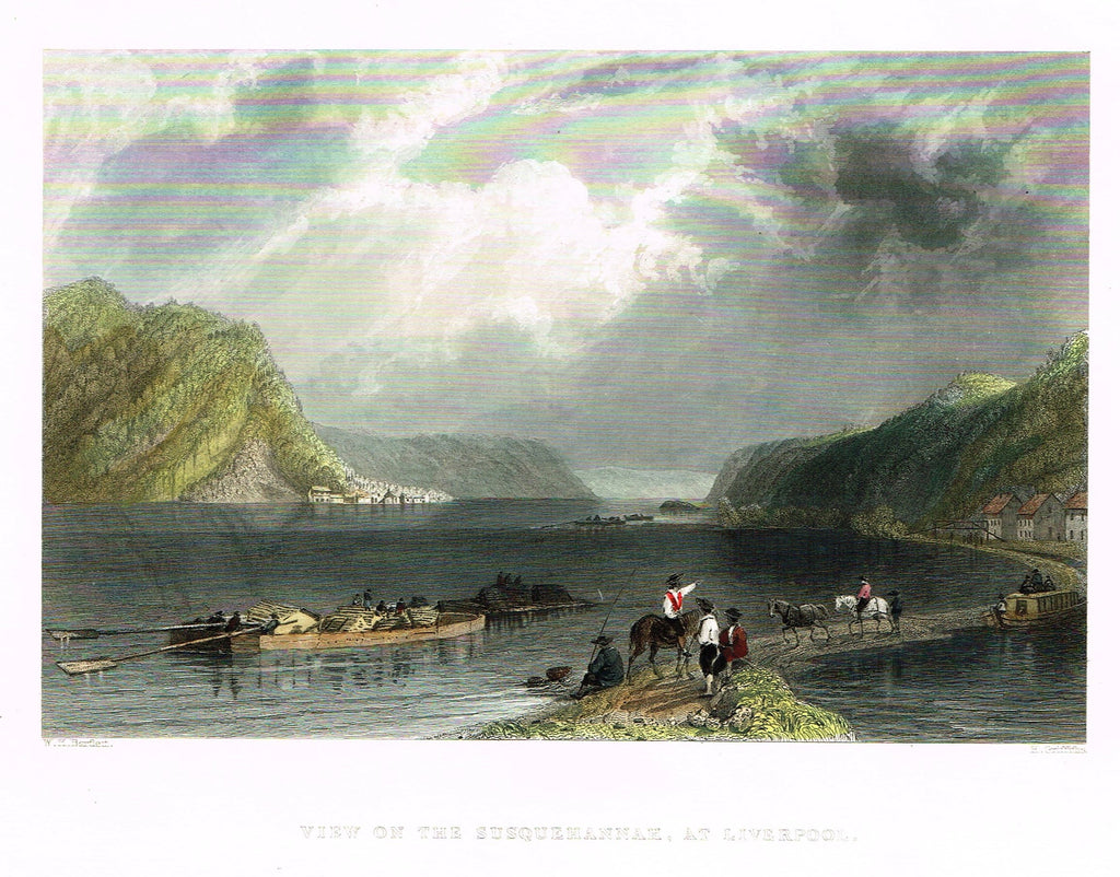 "Bartlett's ""VIEW ON THE SUSQUEHANNAH, AT LIVERPOOL"" - Hand-colored Steel Engraving - c1840"