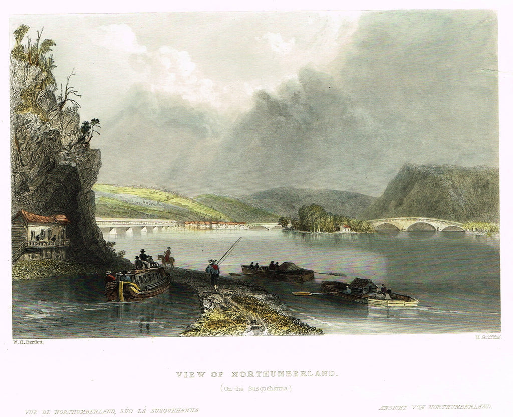 "Bartlett's ""VIEW OF NORTHUMBERLAND (ON THE SUSQUEHANNA)"" - Hand-colored Steel Engraving - c1840"