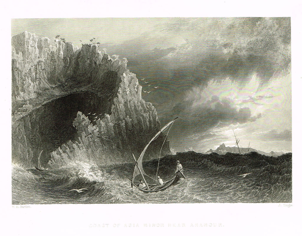 "Bartlett's ""COAST OF ASIA MINOR NEAR ANAMOUR"" - SYRIA - Steel Engraving - 1836"