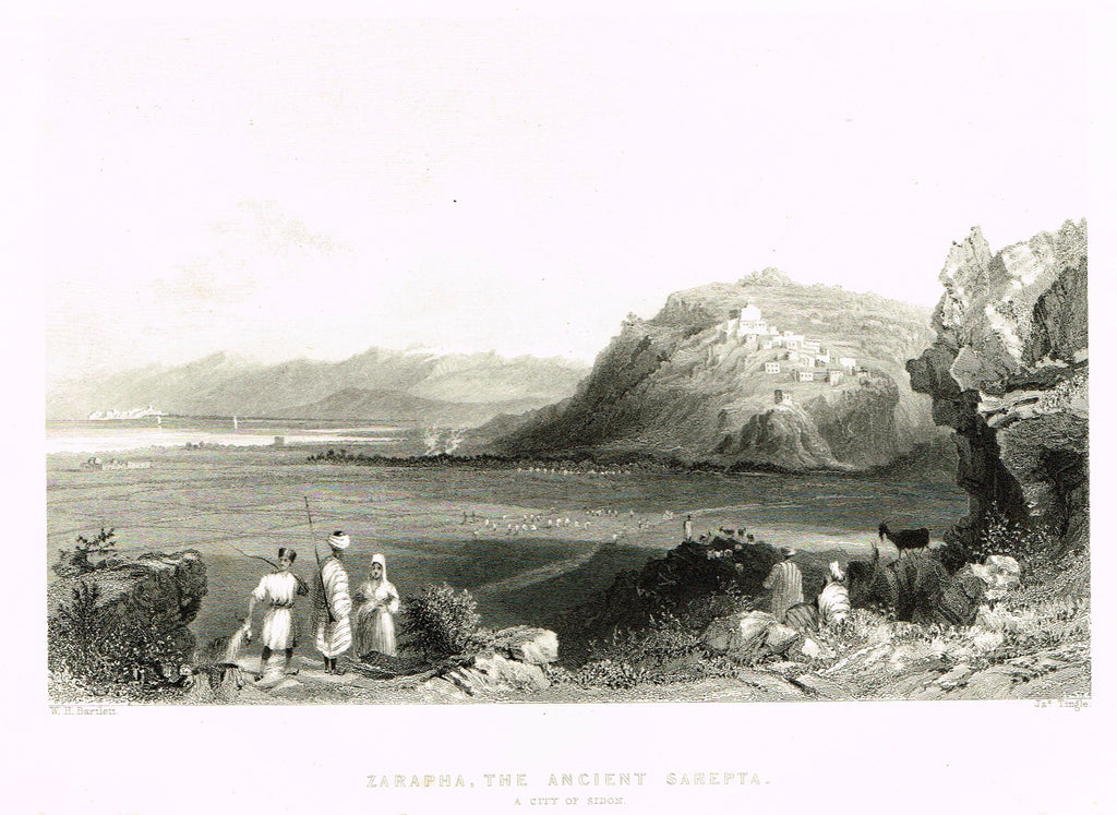 "Bartlett's ""ZARAPHA, THE ANCIENT SAREPTA, A CITY OF SIDON"" - SYRIA - Steel Engraving - 1836"