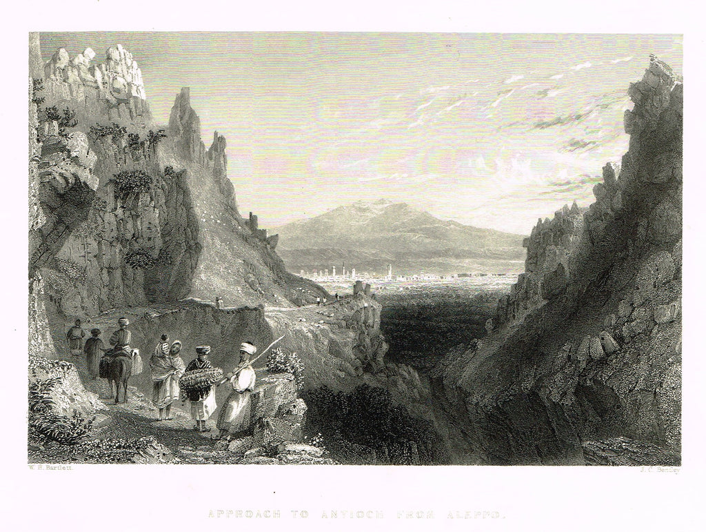 "Bartlett's ""APPROACH TO ANTIOCH FROM ALEPPO"" - SYRIA - Steel Engraving - 1836"