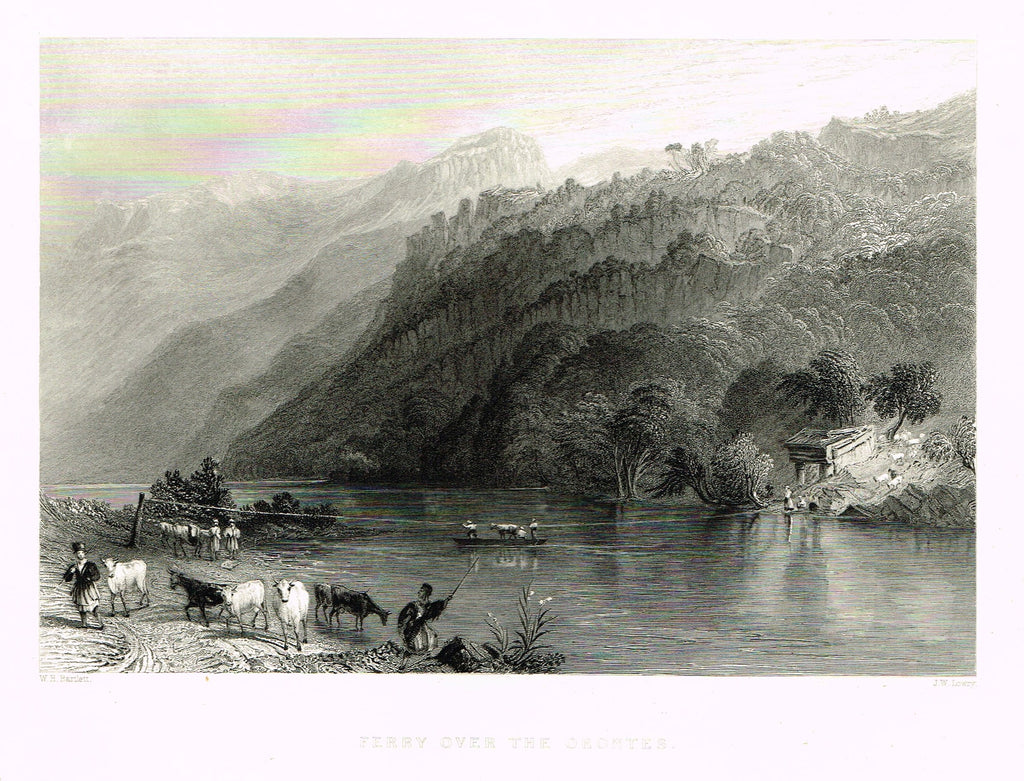 "Bartlett's ""FERRY OVER THE ORONTES"" - SYRIA - Steel Engraving - 1836"
