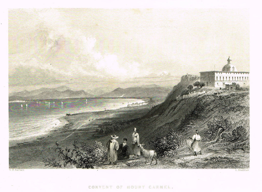 "Bartlett's ""CONVENT OF MOUNT CARMEL"" - SYRIA - Steel Engraving - 1836"