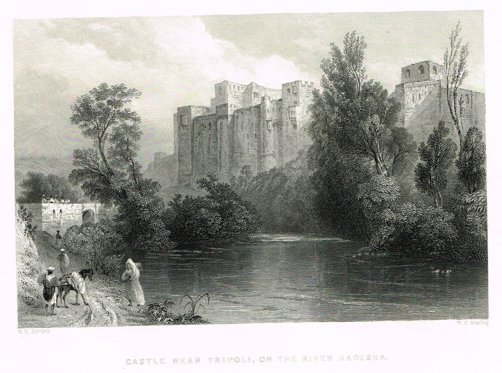"Bartlett's ""CASTLE NEAR TRIPOLI, ON THE RIVER KADESHA"" - SYRIA - Steel Engraving - 1836"
