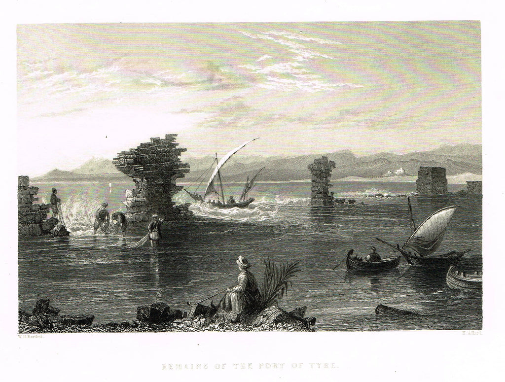 "Bartlett's ""REMAINS OF THE PORT OF TYRE"" - SYRIA - Steel Engraving - 1836"