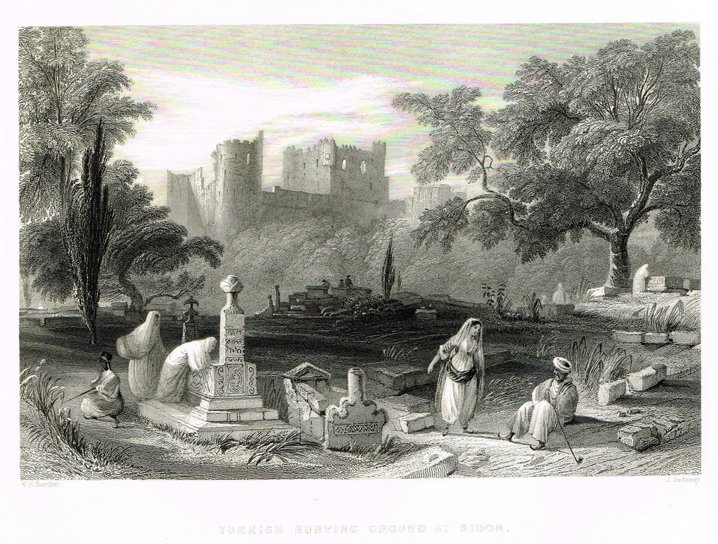 "Bartlett's ""TURKISH BURYING GROUND AT SIDON"" - SYRIA - Steel Engraving - 1836"