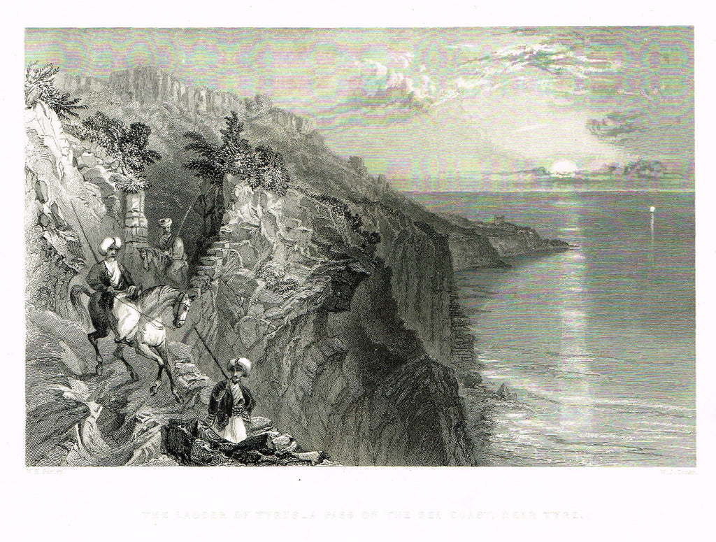 Bartlett's THE LADDER OF TYRUS, A PASS, NEAR TYRE - SYRIA - Engraving - 1836