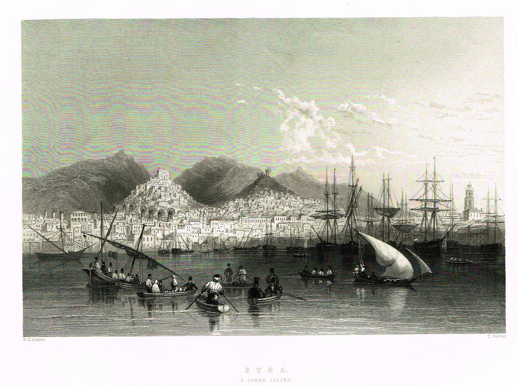 "Bartlett's Holy Land ""SYRA, A GREEK ISLAND"" - Steel Engraving - 1836"