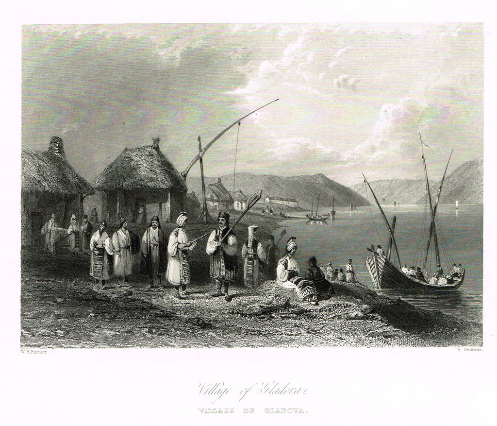 "Bartlett's Holy Land ""VILLAGE OF GLADOVA"" - Steel Engraving - 1836"