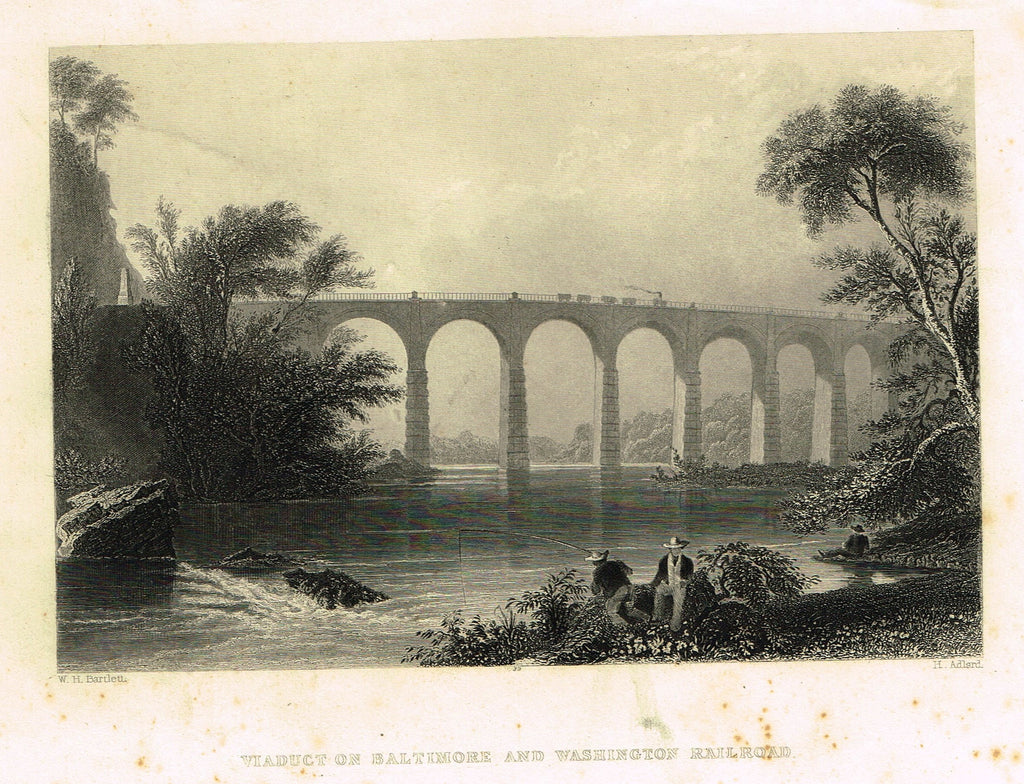 "Bartlett's ""VIADUCT ON BALTIMORE AND WASHINGTON RAILROAD"" - Steel Engraving - c1840"