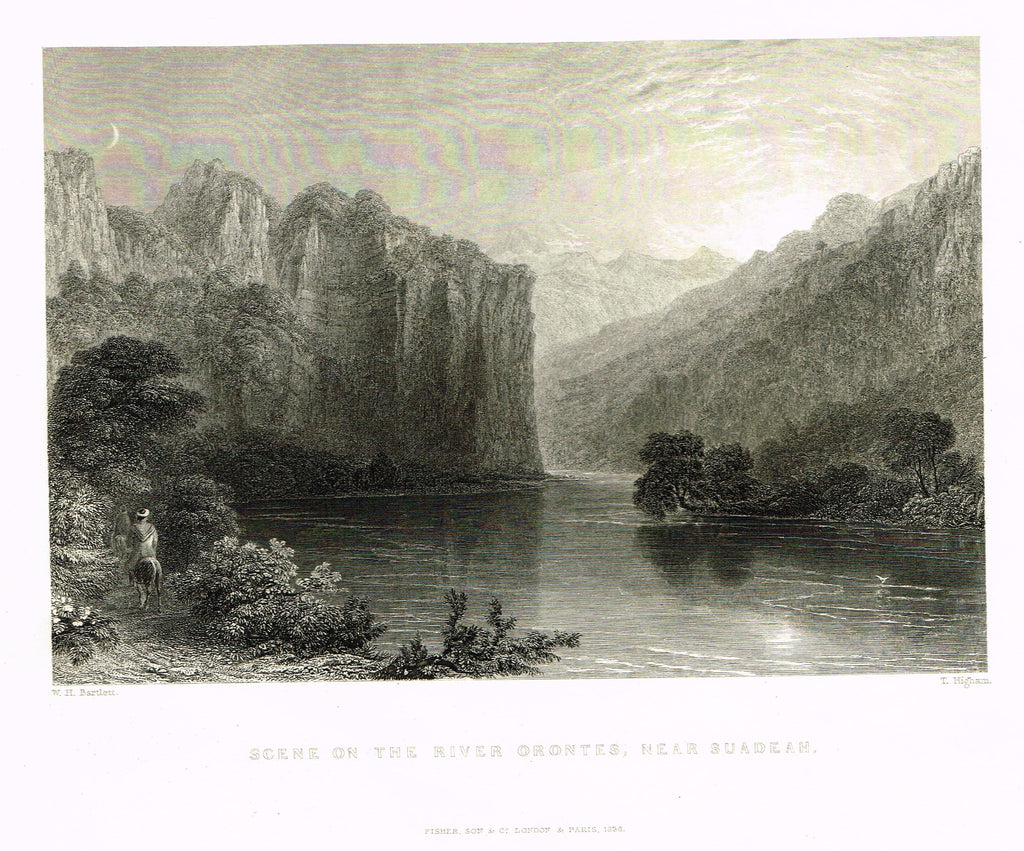 "Bartlett's ""SCENE ON THE RIVER ORONTES, NEAR SUADEAH"" - SYRIA - Steel Engraving - 1836"
