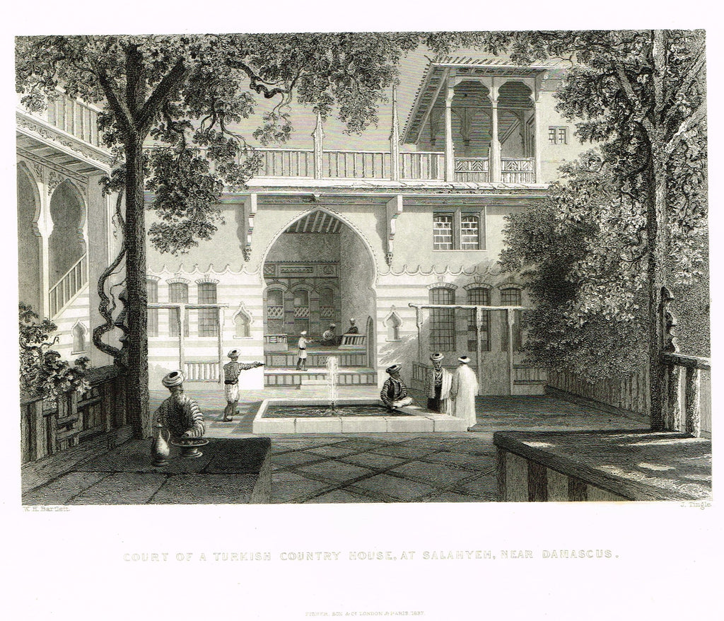 "Bartlett's ""COURT OF A TURKISH COUNTRY HOUSE. AT SALAHYEH"" - SYRIA - Steel Engraving - 1836"