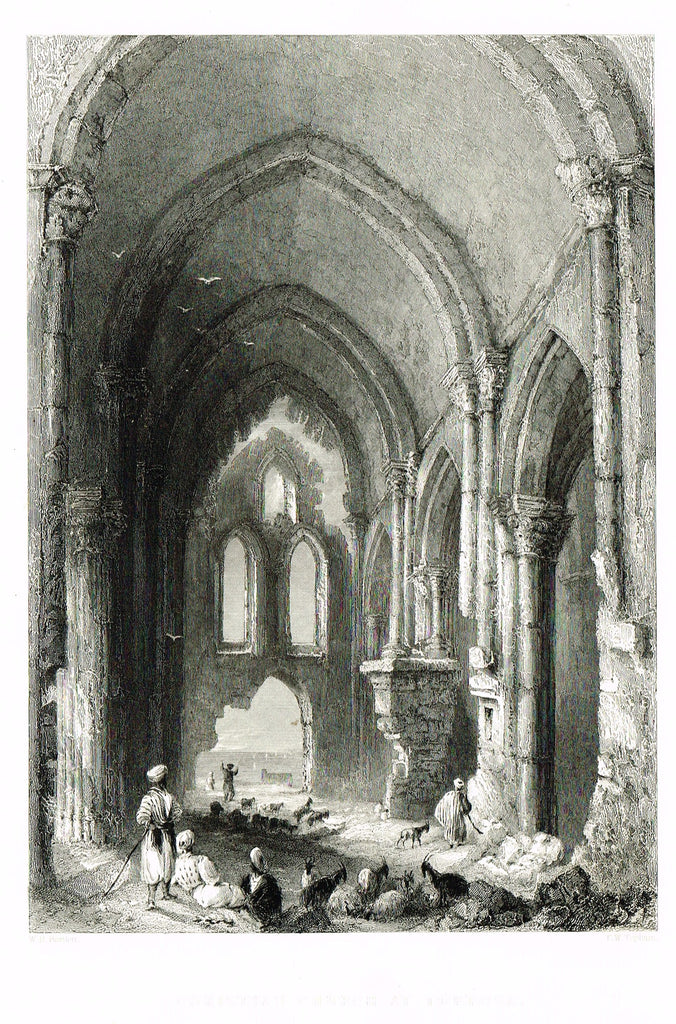"Bartlett's ""CHRISTIAN CHURCH AT TORTOSA"" - SYRIA - Steel Engraving - 1836"