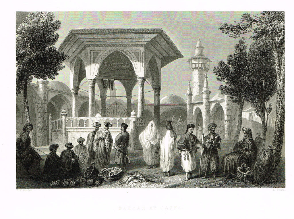 "Bartlett's ""BAZAAR AT JAFFA"" - SYRIA - Steel Engraving - 1836"