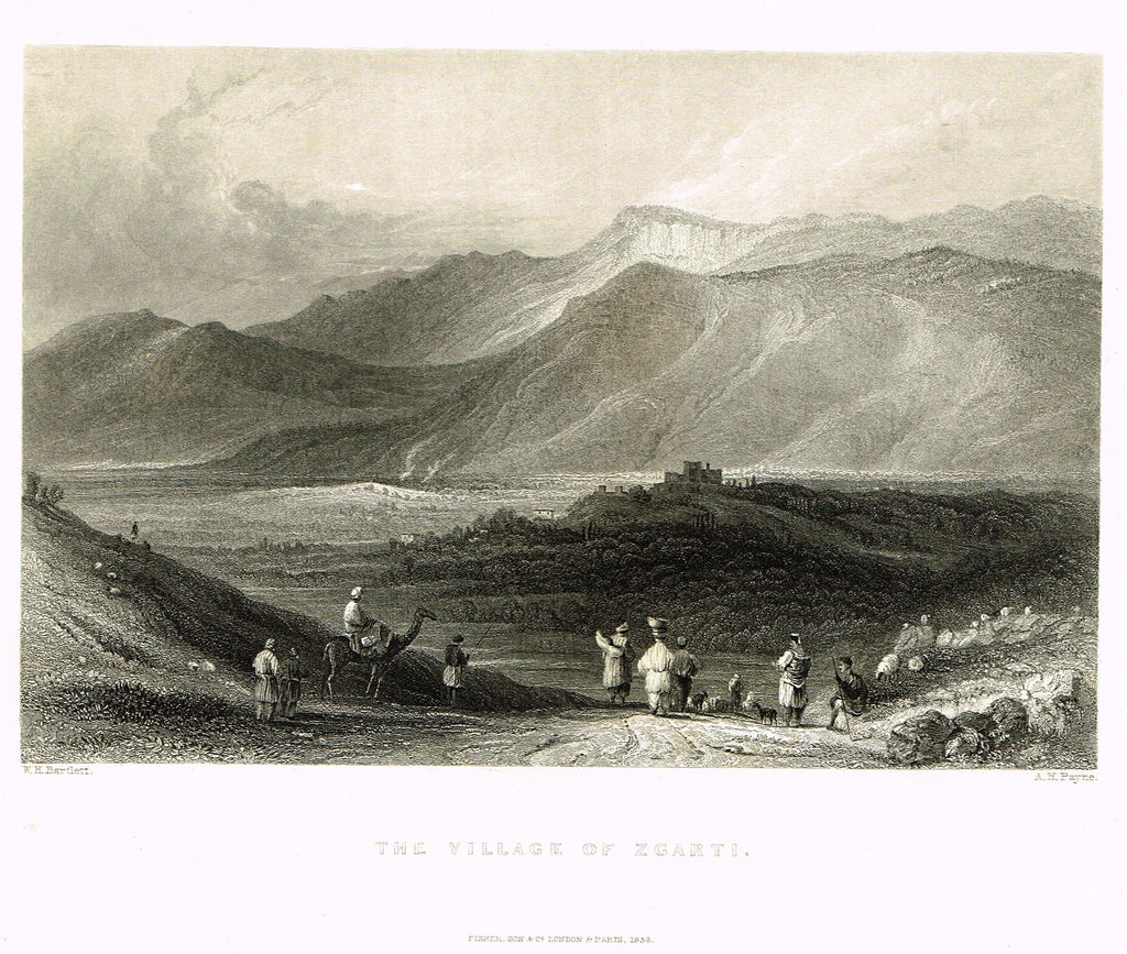 "Bartlett's ""THE VILLAGE OF ZGARTI"" - SYRIA - Steel Engraving - 1836"