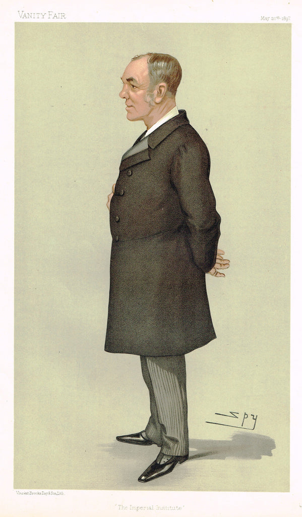 "Vanity Fair (SPY) Print -  ""THE IMPERIAL INSTITUTE"" - Sir Alfred Jephson - Chromolithograph - 1897"