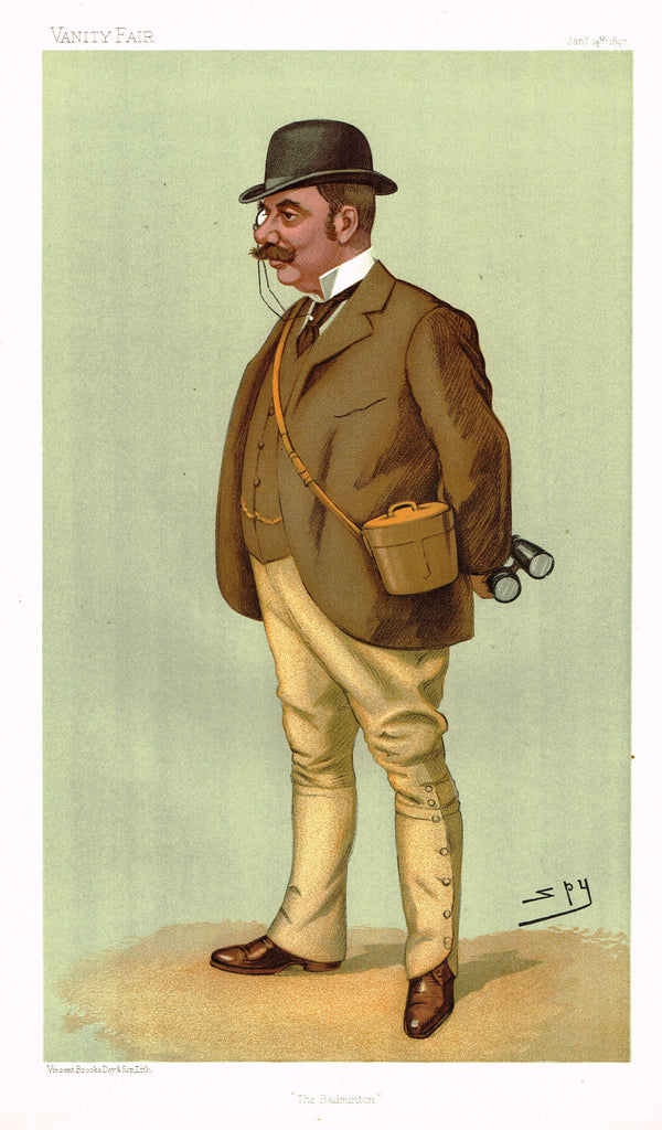 "Vanity Fair (SPY) Print -  ""THE BADMINTON"" - Alfred Watson - Chromolithograph - 1897"