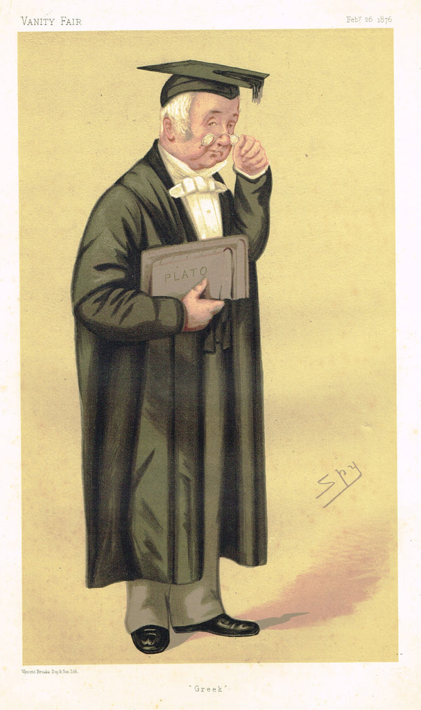"Vanity Fair (SPY) Print -  ""GREEK"" -  Rev. Benjamin Jowett, MA - Chromolithograph - 1895"