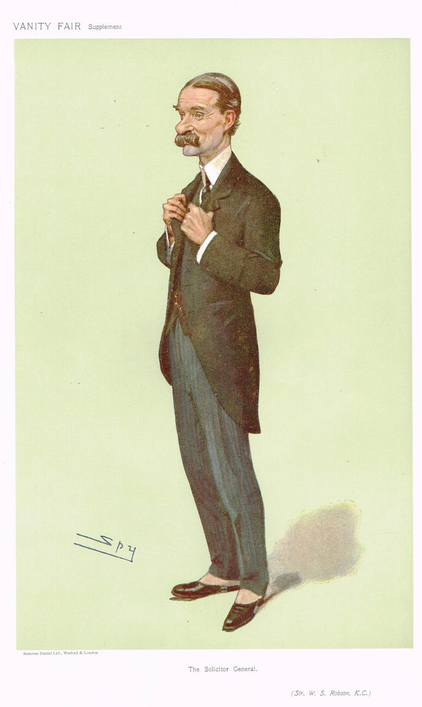 "Vanity Fair (SPY) Print -  ""THE SOLICITOR GENERAL"" - Sir H.s. Giffard MP - Chromolithograph - 1890"
