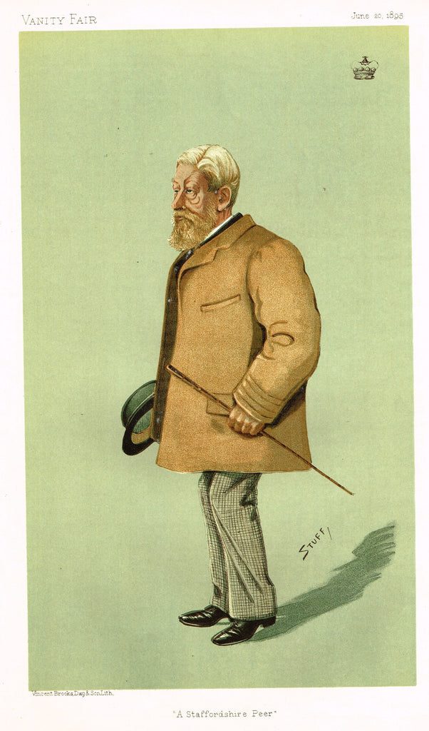 "Vanity Fair (STUFF) Print -  ""A STAFFORDSHIRE PEER"" - Lord Wrottesley, JP - Chromolithograph - 1890"